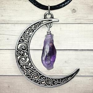 Amethyst point Celtic Moon Pendant Charm Necklace